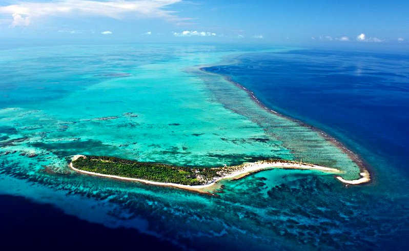 Imagem do atol do Farol, em Belize