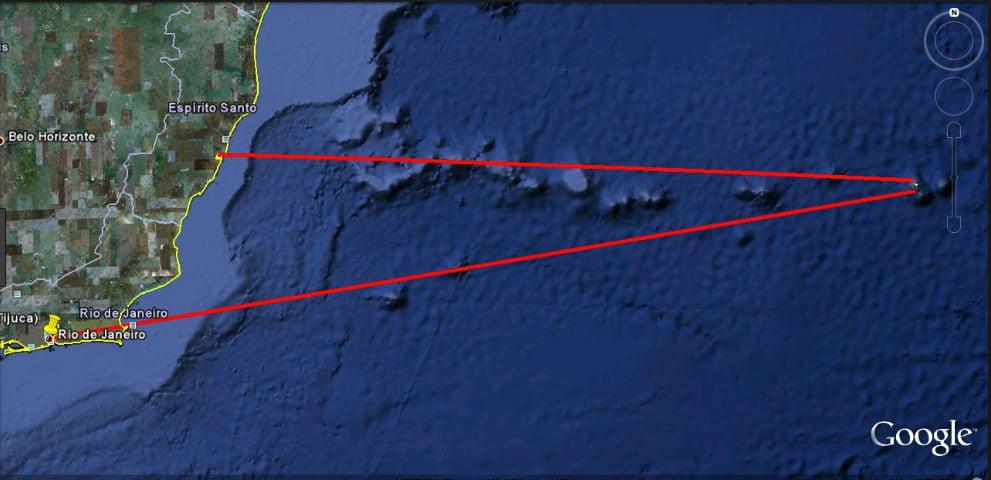 Mapa da cadeia submarina Vitória Trindade
