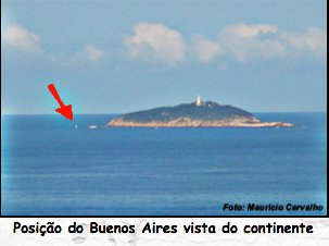 imagem da ilha Rasa, RJ, com marcação do naufrágio do vapor Buenos Aires