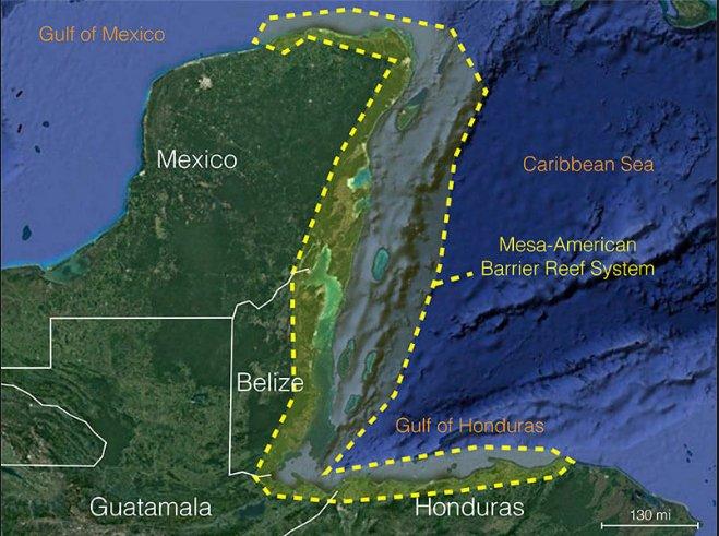 imagem de mapa de Belize que proibiu exploração de petróleo no mar