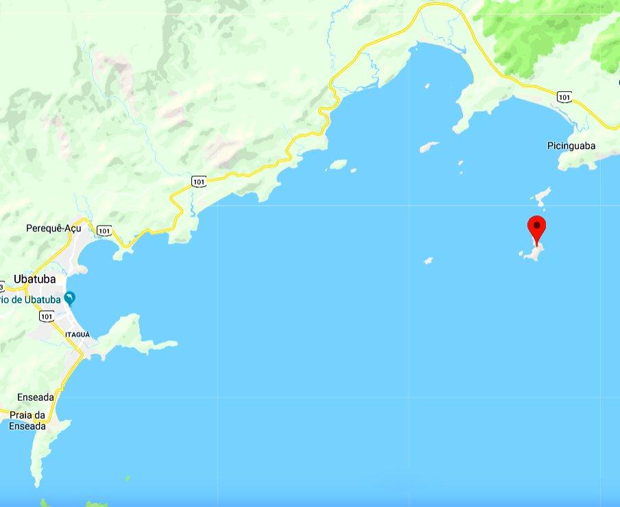 imagem de mapa com localização da ilha das Couves, Ubatuba