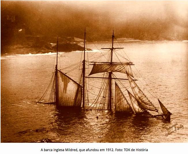 imagem de naufrágios do Brasil, barca mildred naufragada em 1912