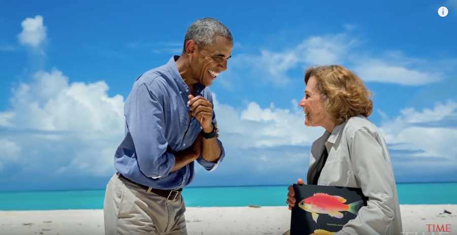 imagem do presidente Obama com Sylvia Earle