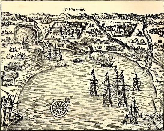 gravura antiga da baía de São Vicente.
