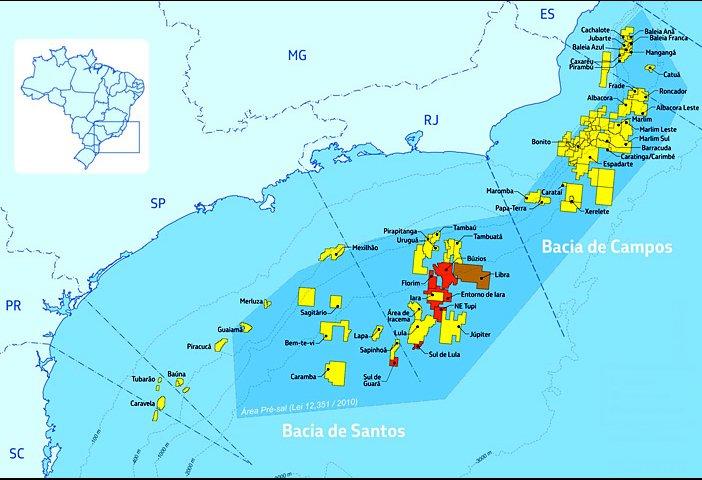 ilustração da bacia de Campos onde a Petrobras explora petróleo