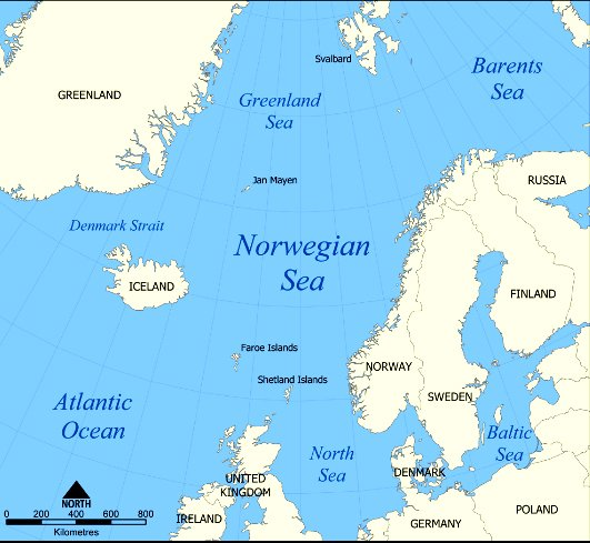 Ilustração de mapa com o mar da Noruega