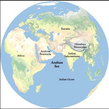 ilustração de mapa com mar da arábia