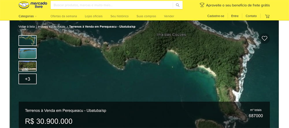 imagem de anuncio de venda da ilha das Couves