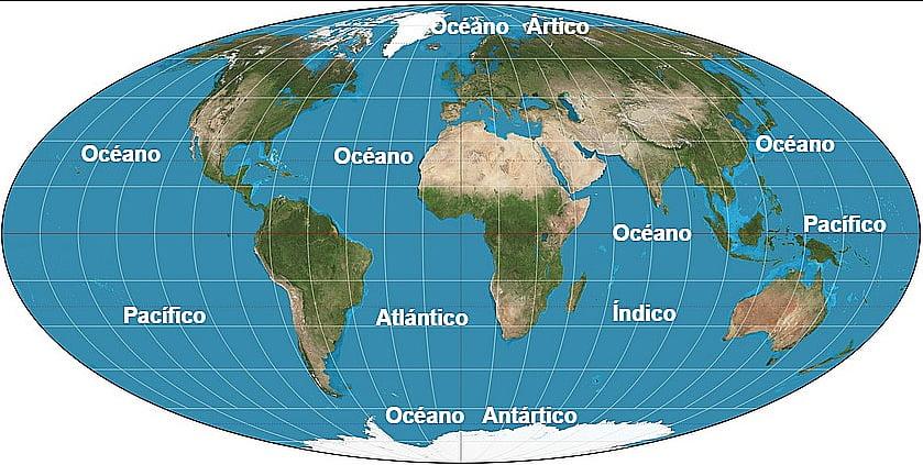 imagem de mapa mundi dos oceanos e mares
