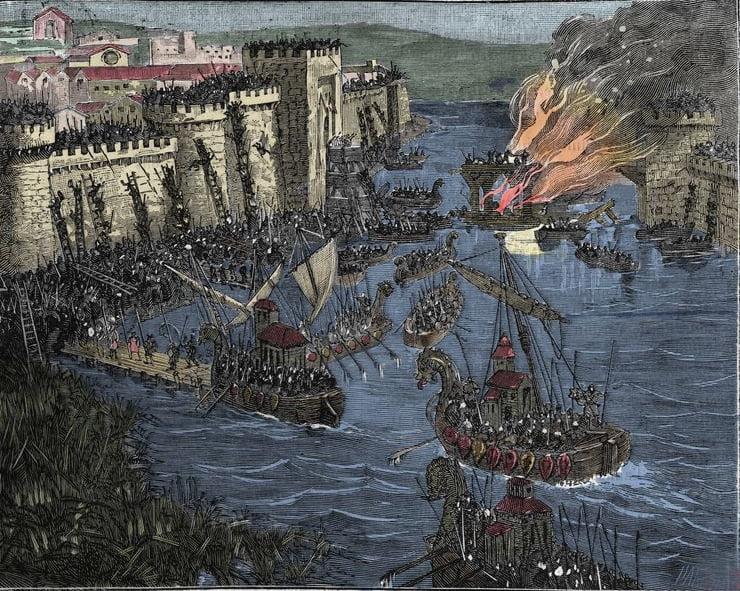 ilustração de ataque dos vikings a Paris