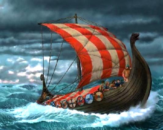 ilustração do drakkar o mais famoso navio de guerra dos vikings