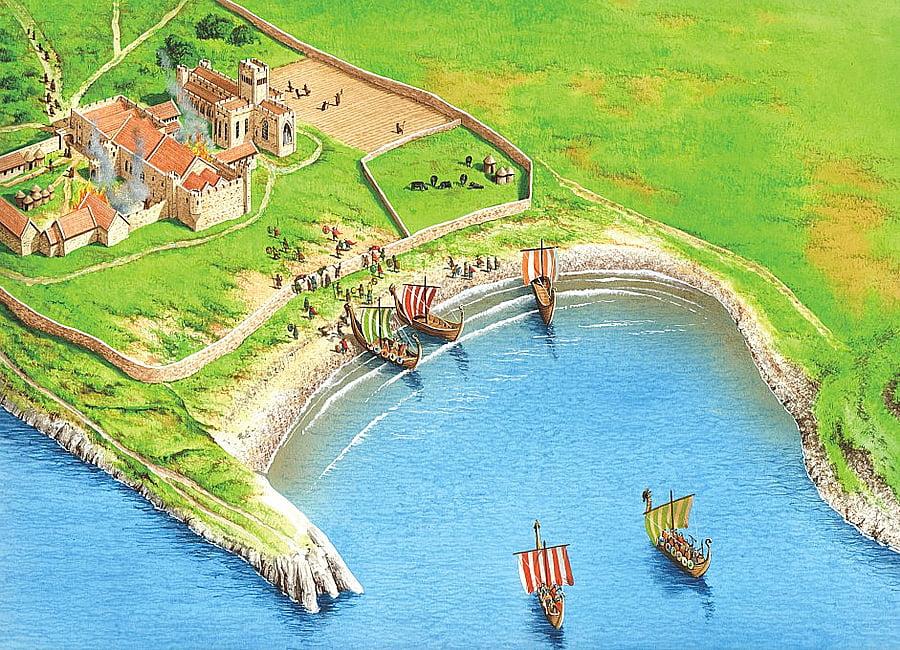 Ilustração do desembarque dos vikings no mosteiro de Lindisfarme