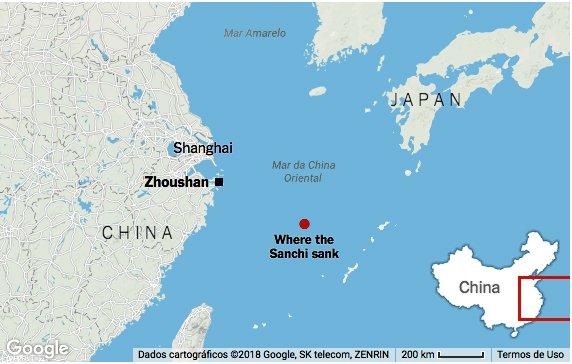 imagem de mapa mostrando vazamento de petróleo nos mares da China