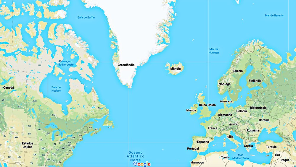 mapa mundi mostrando a Escandinávia