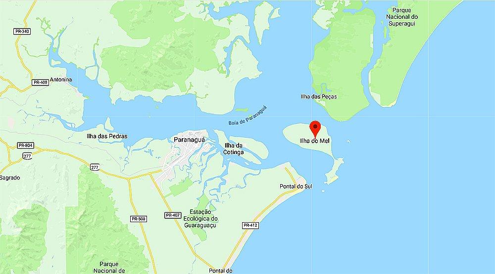 mapa da localização da Ilha do Mel