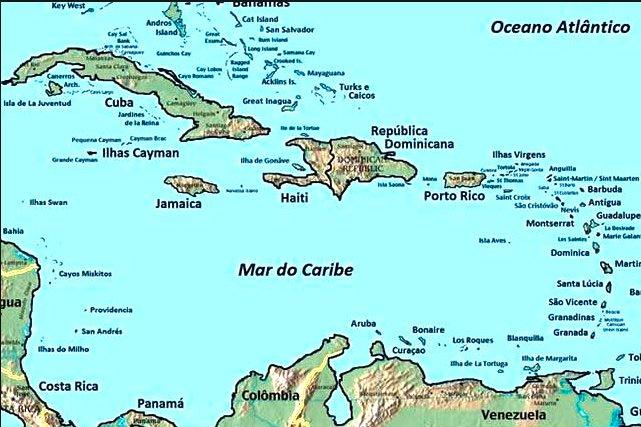 Ilustração do mar do caribe