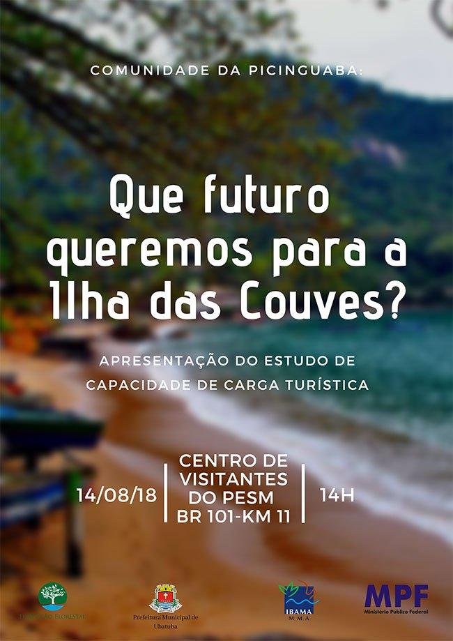 imagem e cartaz da prefeitura de Ubatuba sobre ilha das Couves