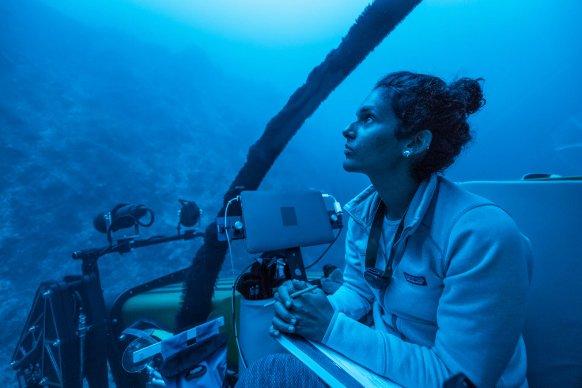 imagem da pesquisadora Diva Amon em submarino no arquipélago de São Pedro e São Paulo