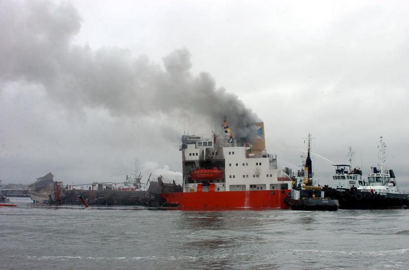 imagem de explosão do navio Vicuña em Paranaguá