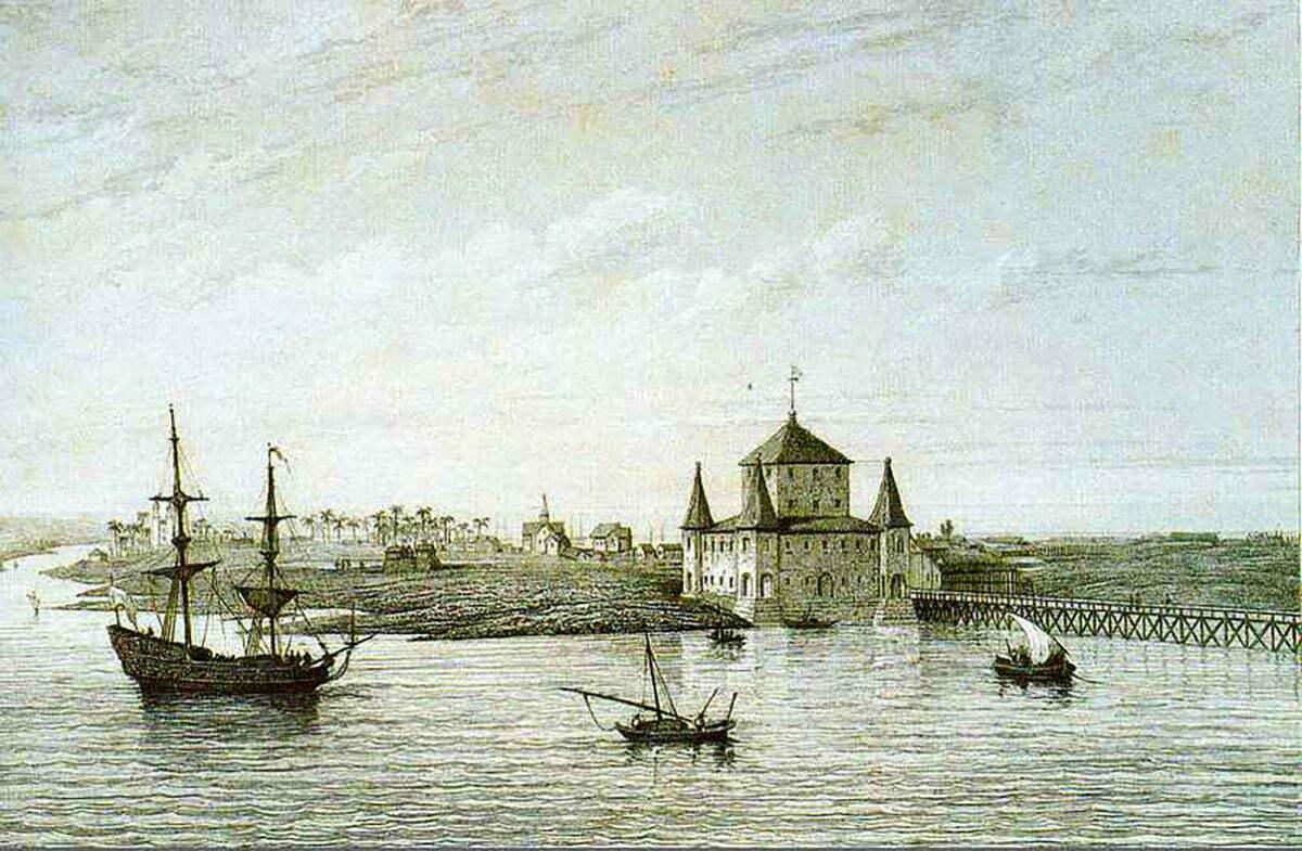 gravura do bairro da Boa Vista no século 17
