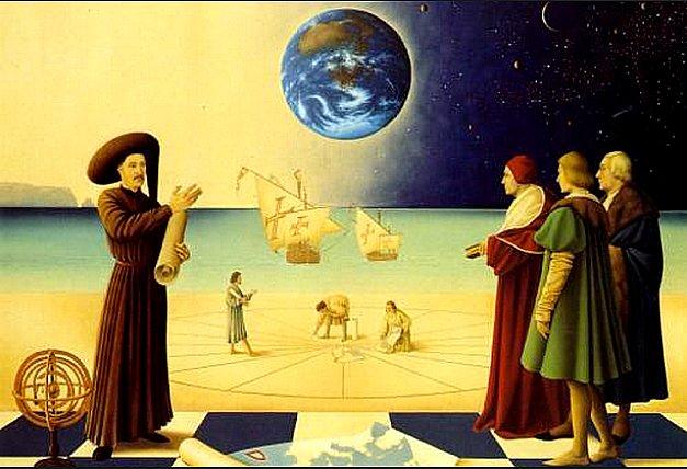 Ilustração com alegoria do Infante D. henrique e a escola de sagres