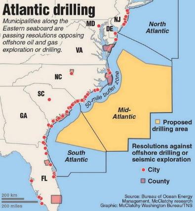 mapa onde haverá perfuração de petróleo no mar dos Estados Unidos