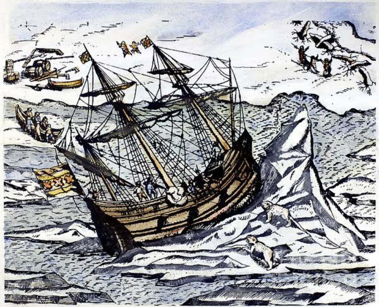 gravura alusiva ao navegador holandês Willem Barents