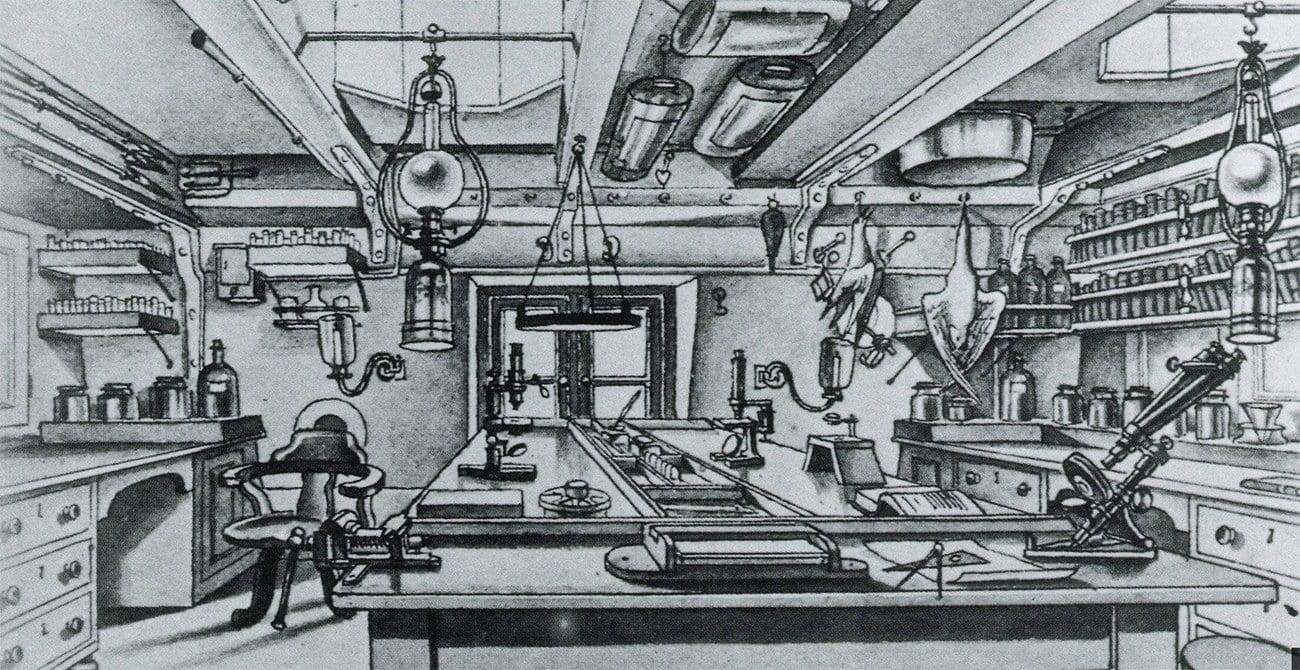 desenho de um laboratório a bordo do