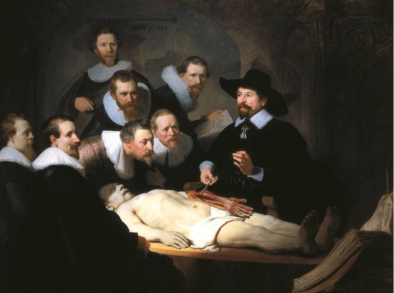 imagem da tela Aula de anatomia, de Rembrandt na Holanda