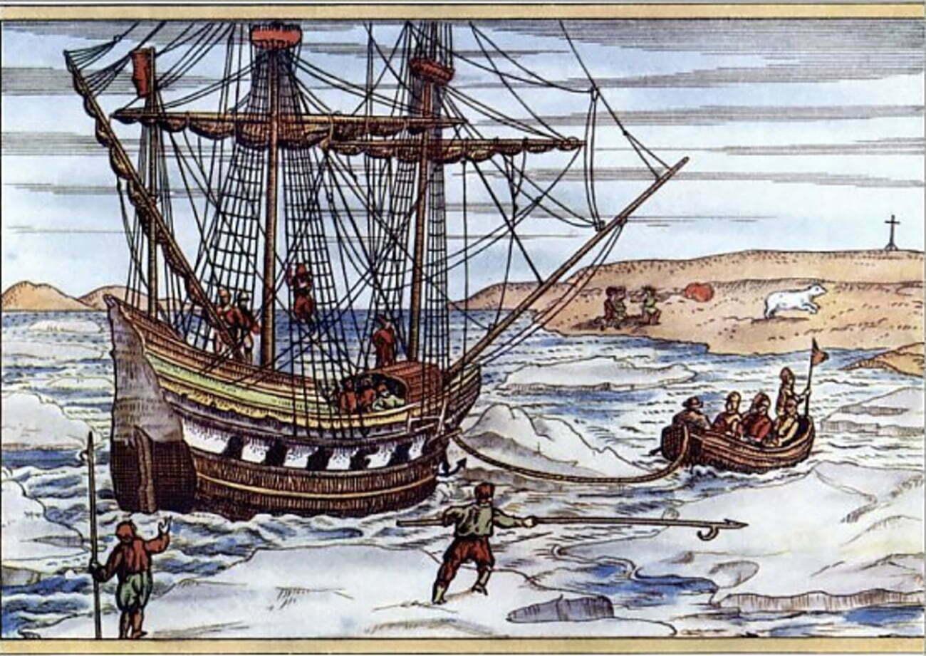 gravura do navio de Willem Barentsz no gelo do Ártico