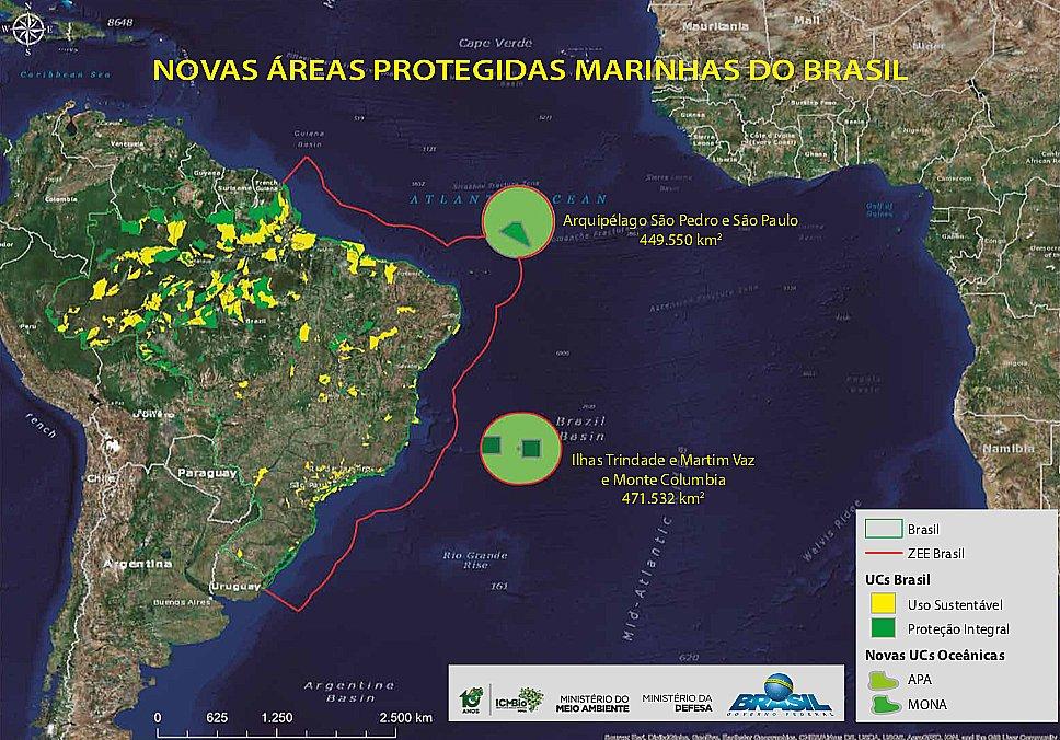 ilustração de mapa com as duas novas unidades de conservação no mar brasileiro