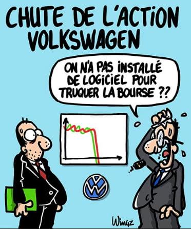 imagem de charge da Volkswagen e aquecimento global