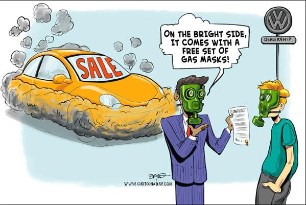 ilustração de charge da fraude mundial da Volkswagen e aquecimento global