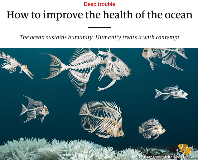 Imagem de capa do The Eonomist em matéria sobre a saúde dos oceanos