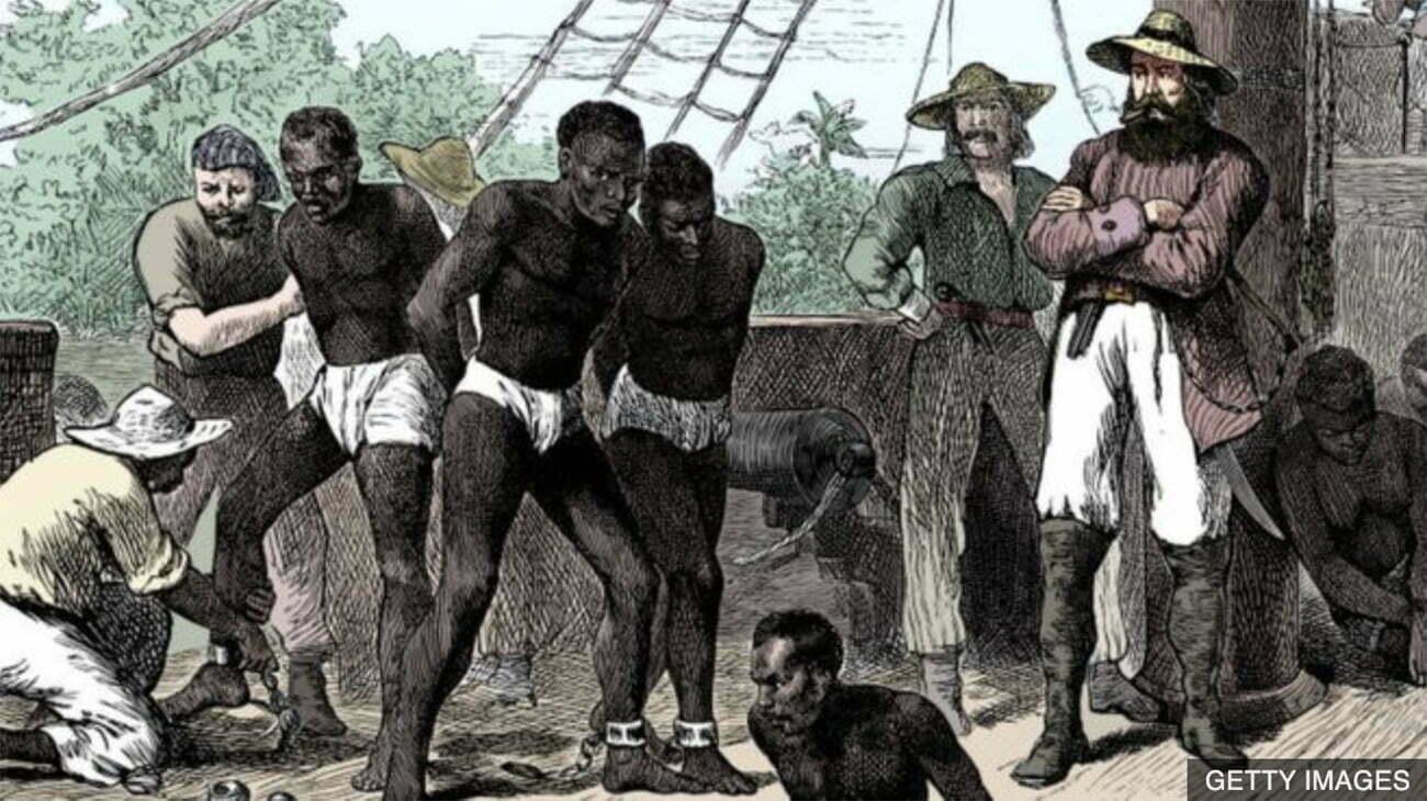 gravura de escravos em navio negreiro