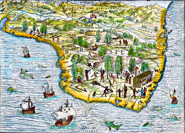 ilustração de mapa mostrando que o Brasil foi escala, e estaleiro, na era da vela