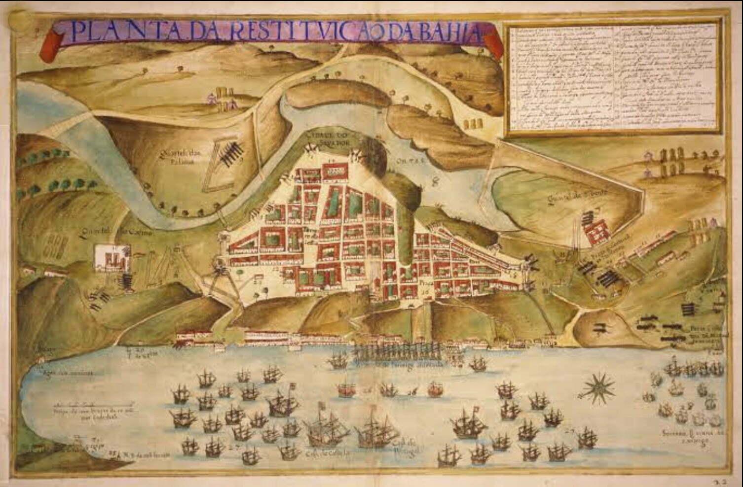 mapa de Salvador e a chegada dos holandeses em 1625