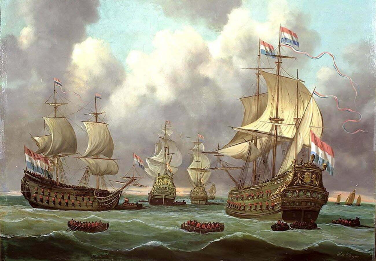 Gravura da frota holandesa em comboio por Simon de Vlieger, 1630.
