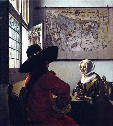 imagem da tela Oficial e moça sorridente, de Vermeer