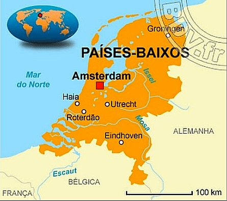 ilustração de mapa da Holanda