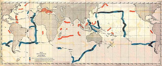 ilustração de mapa com a rota do Challenger, que iniciou a oceanografia