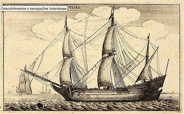 desenho de nau da Holanda do século 17
