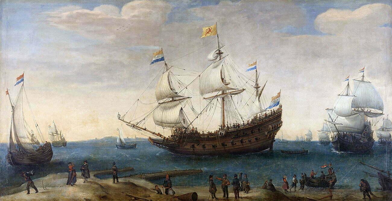 Gravura de navios holandeses do século 17