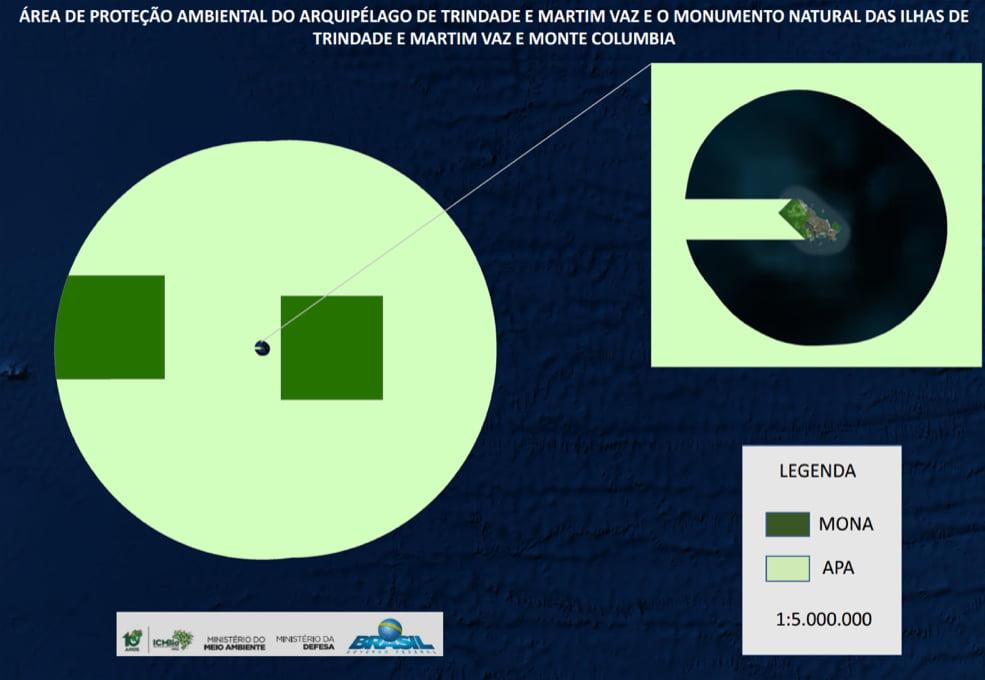 Ilustração de mapa das unidades de conservação no mar brasileiro