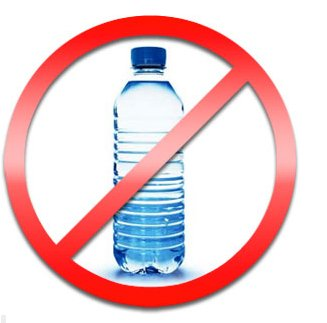 ilustração de garrafas de plástico com símbolo de proibição