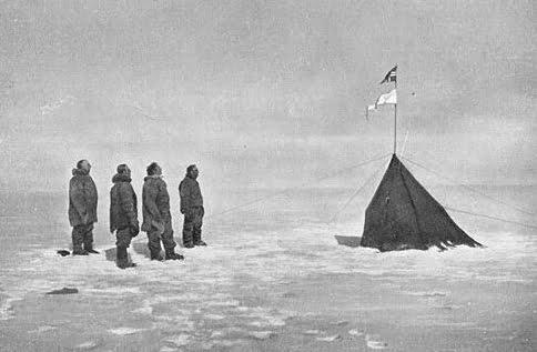 Imagem de Roald Amundsen no polo sul