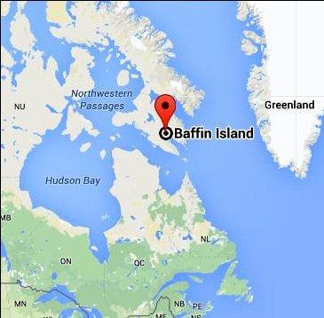 imagem de mapa com a ilha de Baffin