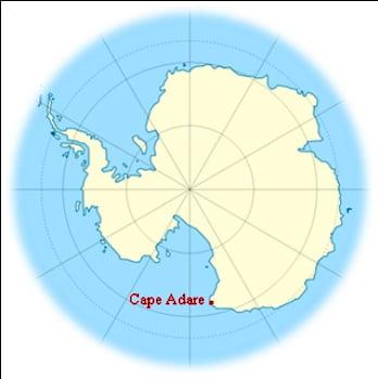 mapa do Cabo Adare, Antártica