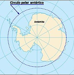 mapa com o círculo polar antártico