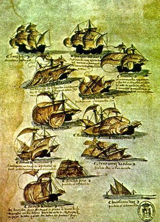ilustração da frota de Cabral